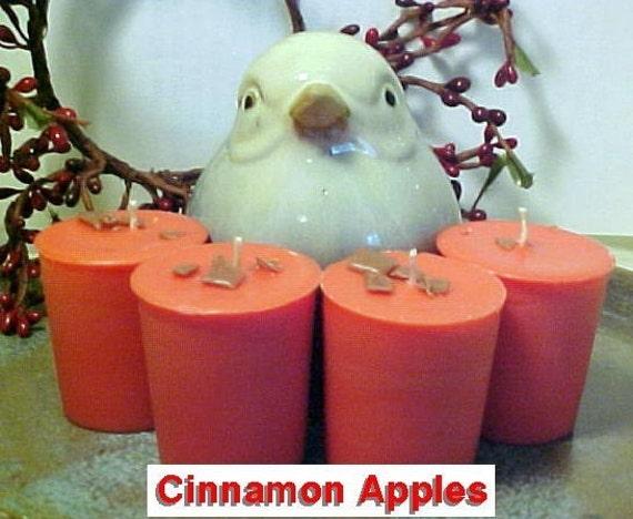 4 CINNAMON APPLES Handmade Soy Wax Votive Candles Black Mountain Candles