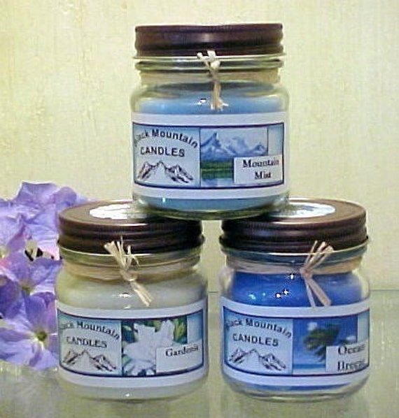 Three Handmade Soy Candles by  Black Mountain Candles 8 ounces