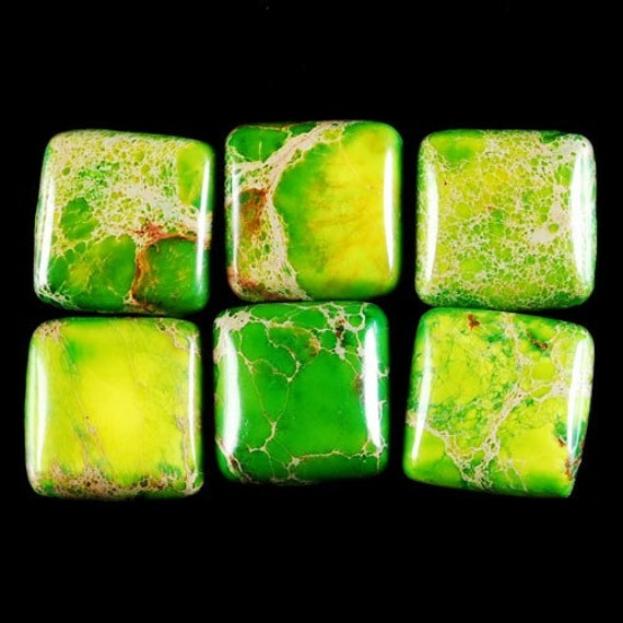 SET OF 6 GREEN SEA SEDIMENT JASPER SQUARE CABOCHON GEMSTONES   12X12X4MM    C39089