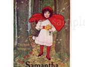 Personalized Bookplates - Little Red Riding Hood - Vintage Girl's Book Plates, Book Labels