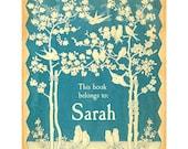 Personalized Bookplates - Vintage Blue Bird - Gorgeous Baby Shower Gift, Teacher Present, Best Friend's Birthday
