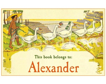 Vintage Personalized Bookplates - Boy and Geese - Beautiful Labels for Boy's Books
