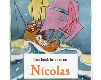 Personalized Bookplates - Wynken Blynken and Nod - Vintage Baby Shower, Boy's Library, Night Ship