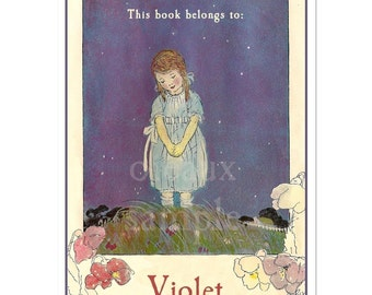 Personalized Bookplates - Twilight Flowers - Vintage Girl's Book Labels, Mother's Day, Baby Shower