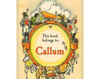 Personalized Bookplates - Soldier Boy - Vintage Book Label, Boy's Birthday