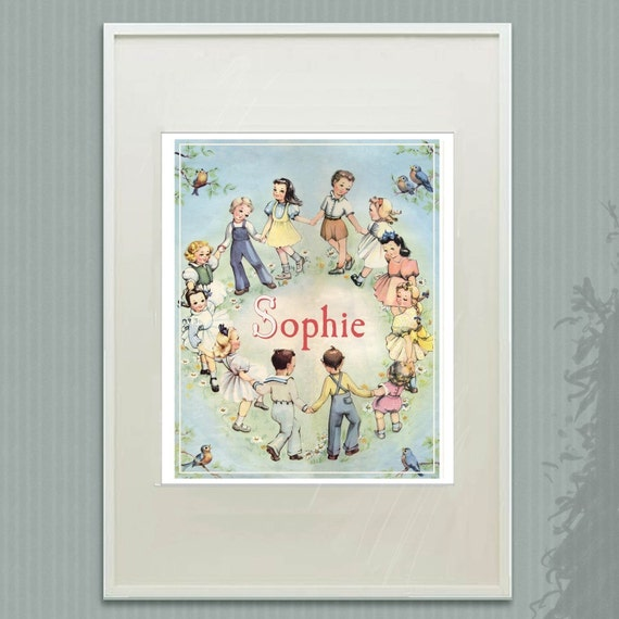 Personalized PRINT - Ring Around the Rosie - Vintage Children's Room Decor, Pale Blue, Spring, Baby Shower