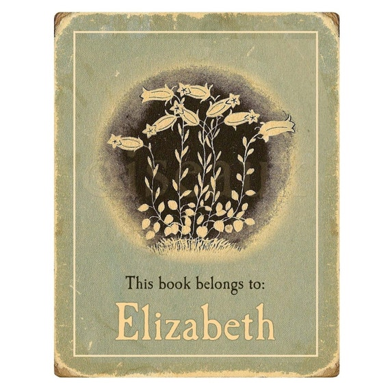 Personalized Bookplates - Vintage Lilies - Teacher, Mother's Day Gift, Antique Library