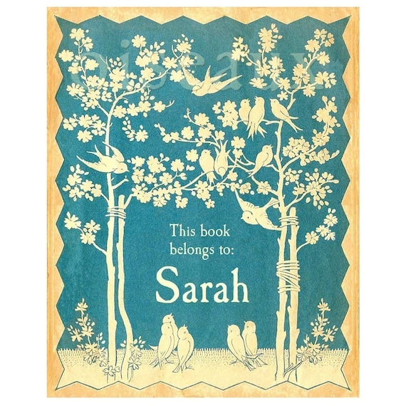 Personalized Bookplates - Vintage Blue Bird - Gorgeous Baby Shower Gift, Teacher Present, Best Friend's Birthday