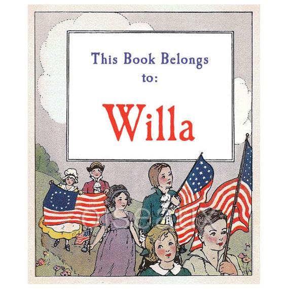 Personalized Bookplates - Little Patriots -  Vintage Book Labels, Americana