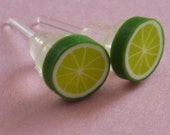 SLICED LUSCIOUS LIME Earrings non-allergenic plastic stud post