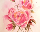 PINK ROSE BOUQUET - Mothers Day gift -  10x8 inch Original Watercolor Painting - SHIPs out within  24 hours
