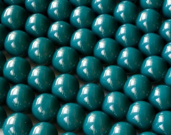 Turquoise Glass Beads 8 OR 10mm Round Bead Strand