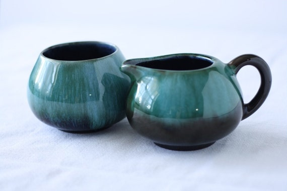 Vintage Turquoise and Brown Cream and Sugar Set