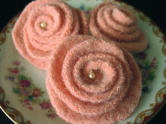 Felted Wool Rose Pin