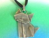 Silver Origami Cat Pendant
