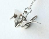 Silver Origami Crane Pendant - Hand Folded - True Origami Jewelry - Fine Silver Crane Necklace