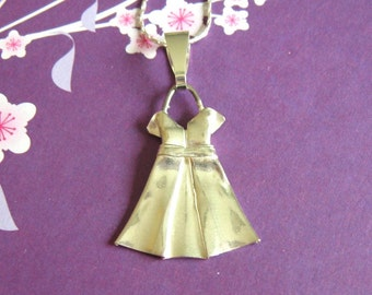 Silver Origami Party Dress Pendant