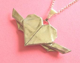 Silver Origami Heart Pendant Hand Folded Fine Silver