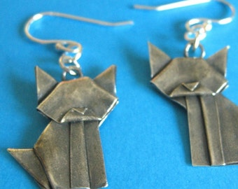 Silver Origami Cat Earrings - Hand Folded - Fine Silver