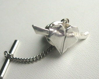 SIlver Origami Heart Tie Tack