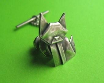 Silver Origami Cat Tie Tack