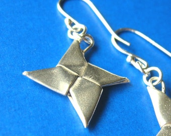 Silver Origami Shuriken Earrings, Ninja Stars