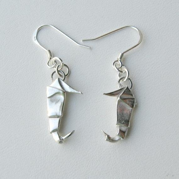 Silver Origami Seahorse Earrings