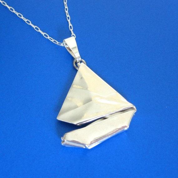 Silver Origami Sailboat Pendant