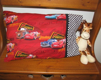 Custom Made 1st to the FINISH Cars fabric Travel Pillowcase - 1 Travel Size Pillowcase