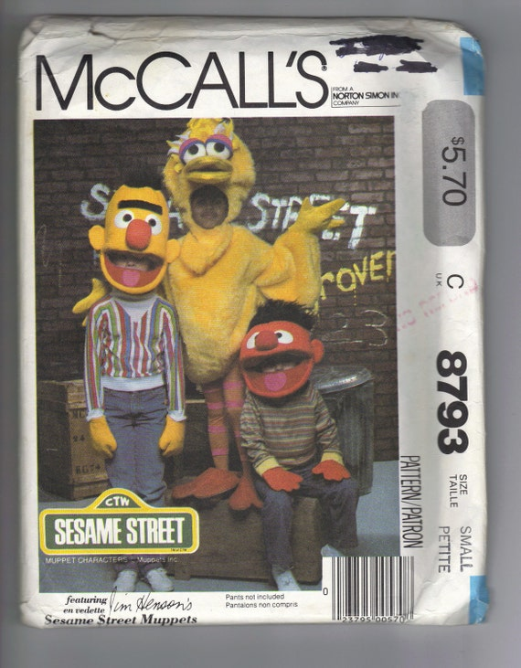 Bert Ernie and Big Bird HALLOWEEN Costumes Size Small 4 - 6 - McCalls 8793 Pattern - SESAME STREET