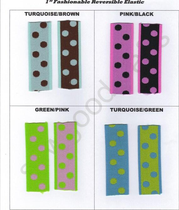Fashionable Polka Dot Elastic - 1 yard each of 2 colours 1 inch Elastic