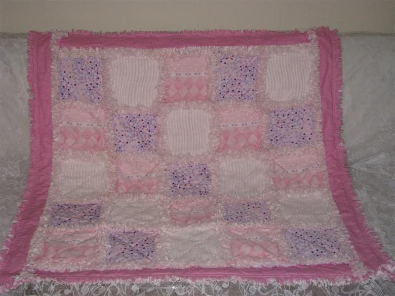 Pink Lap Quilt Or Baby Rag Quilt With Border