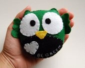 Owl With A Message/ Eco Friendly Stuffed Plush Toy