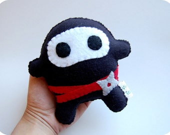 Baby Ninja Plush In Black / Eco Friendly Toy