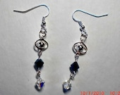 Midnight Blue Crystal and Planet Earrings