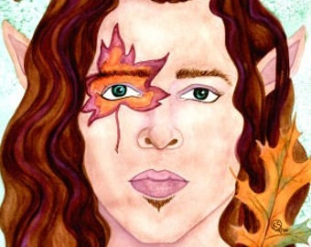 Sexy Male Portraits, Original Watercolor Painting, Original Art, Fantasy Artwork, Fairy Painting, Male Art, Gay Male Art, Gay Gifts, Gay Art