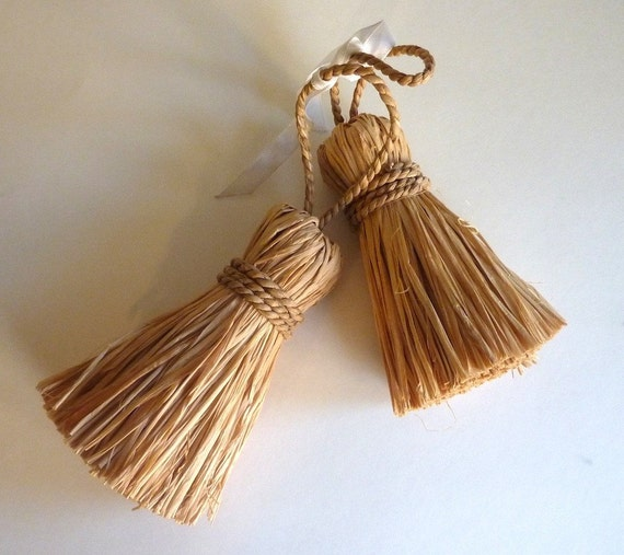 Two Large Raffia Tassels