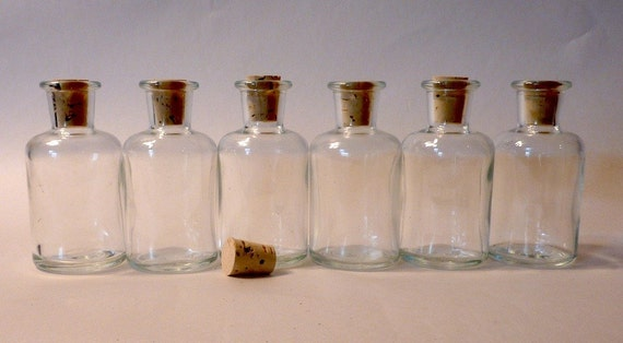 6 Miniature Clear Glass Apothecary Bottles with Corks