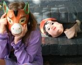 Vintage Papier Mache Burro Jackass Halloween Mask - Donkey