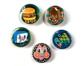 Choose 3 of these 1.5 inch burger popsicle turtle tape cat kitten ice cream buttons