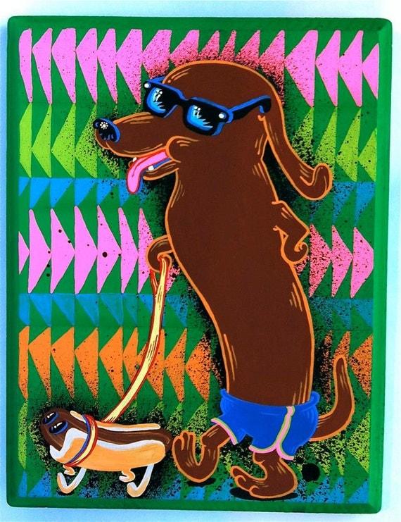 Wiener dog walking the hot dog