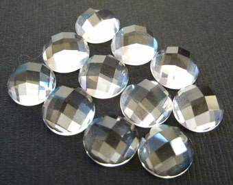 Gemstone Cabochons Quartz Clear Checkerboard 10mm FOR TWO