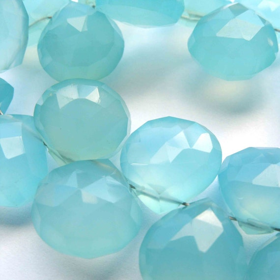 Semi Precious Gemstone Briolettes Chalcedony Teal Faceted Heart 9-12mm FOR FOUR