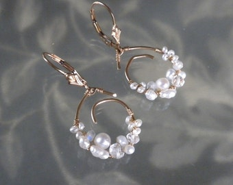 Rainbow Moonstone, Crystal Quartz and Pearl-Wrapped Pendant Earrings  S999C Made to Order