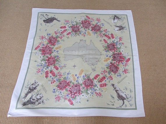 Vintage kItsch Australia Linen tablecloth 1950's