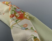 Silk Scarf Vintage Kimono  Honeydew Floral