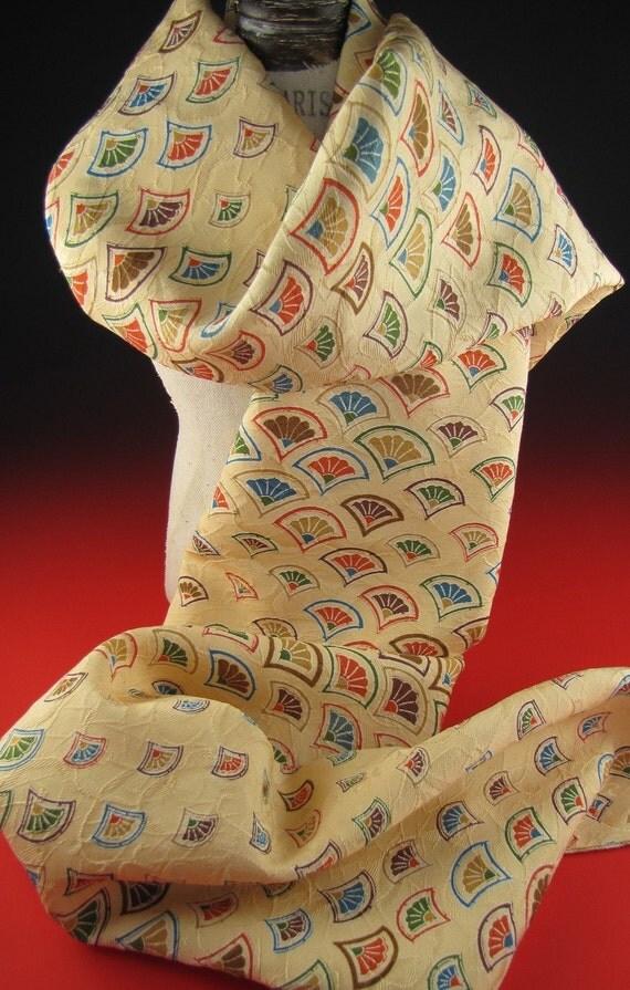 Vintage Silk Kimono Scarf Traditiona Fans