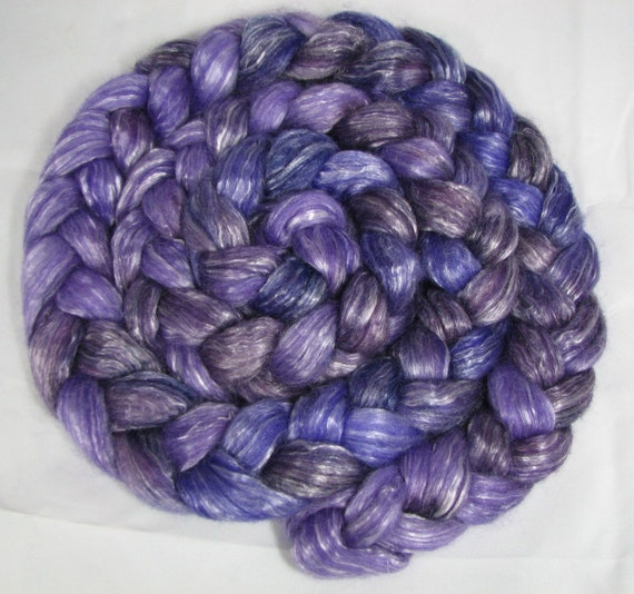RESERVED  for Mischyfpaws - Purple Purple Hand Painted Half Tencel Half  Merino Wool Spinning Fiber - 4 1\/4 ounces - RESERVED  for Mischyfpaws