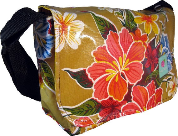Medium Oilcloth Messenger Bag in Tan Hibiscus, Fully Lined in Yellow Gingham, 3 Pockets and Adjustable Strap by nJoy Designs