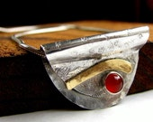 Sterling silver, carnelian and brass slider pendant necklace